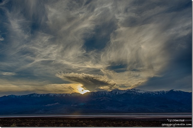 Sunset snowy Panamint Range Badwater Basin Death Valley National Park California