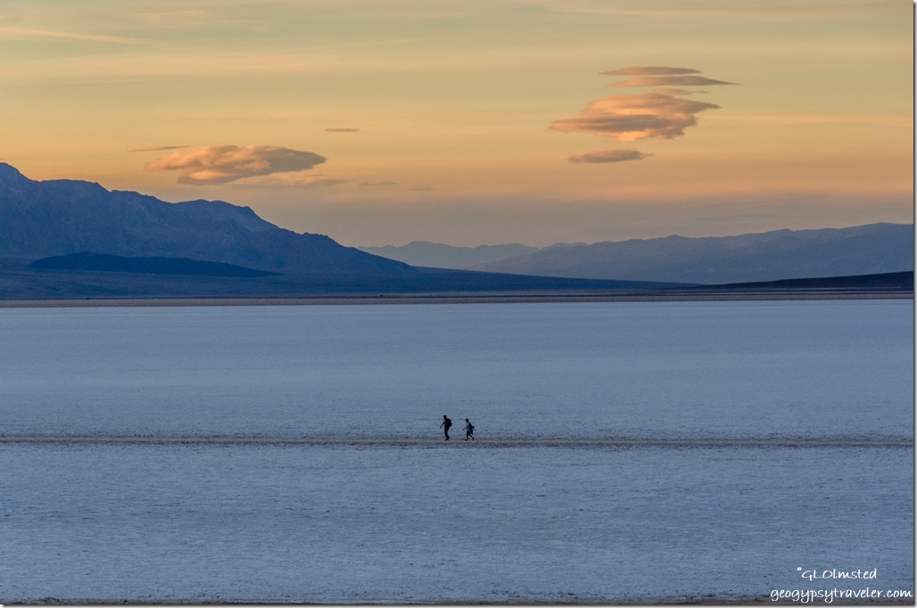 Sunset people Badwater Basin Death Valley National Park California