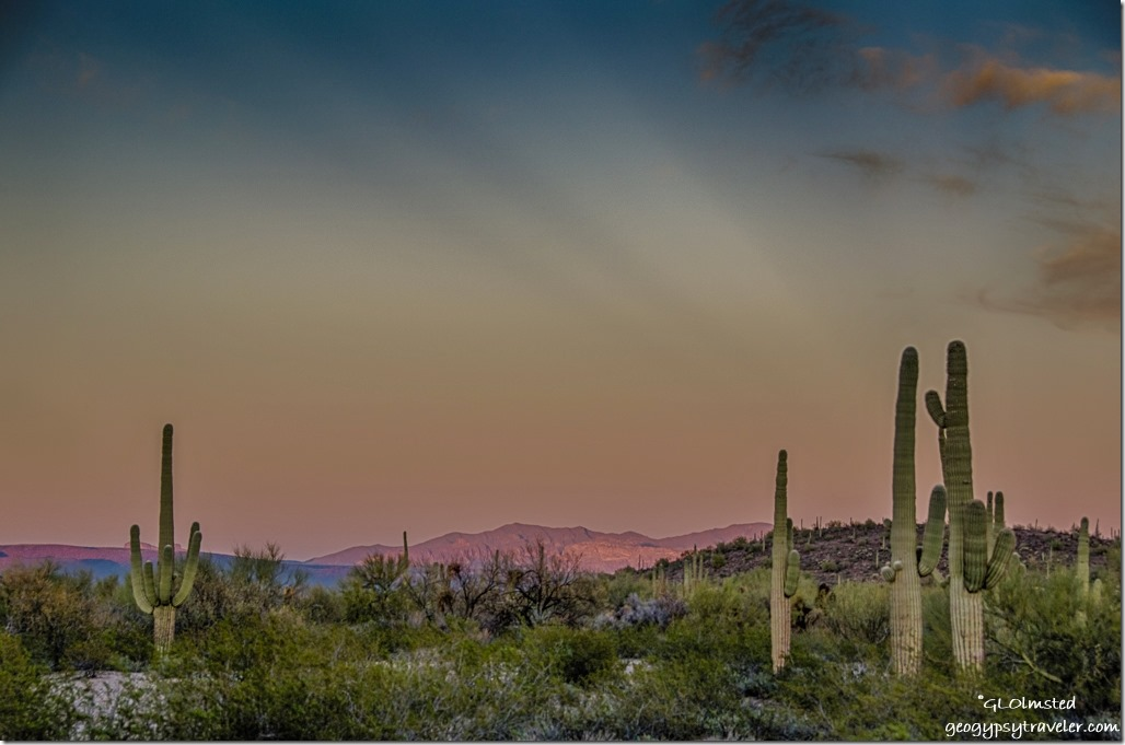 Sunset rays Pozo Redondo Mountains Darby Well Road BLM Ajo Arizona