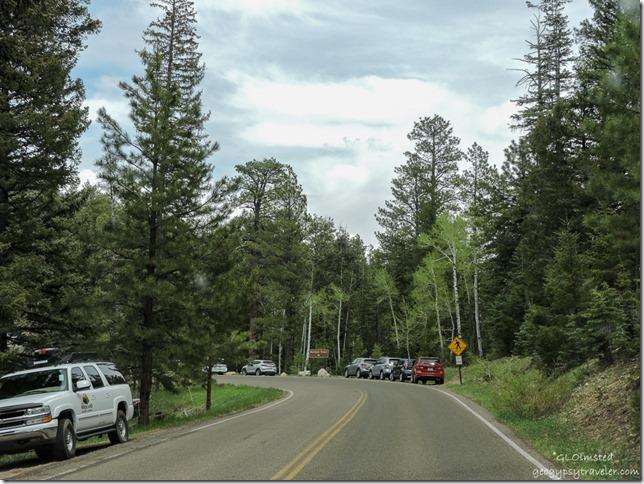 cars along SR67 North near North Kaibab trail head North Rim Grand Canyon National Park Arizona