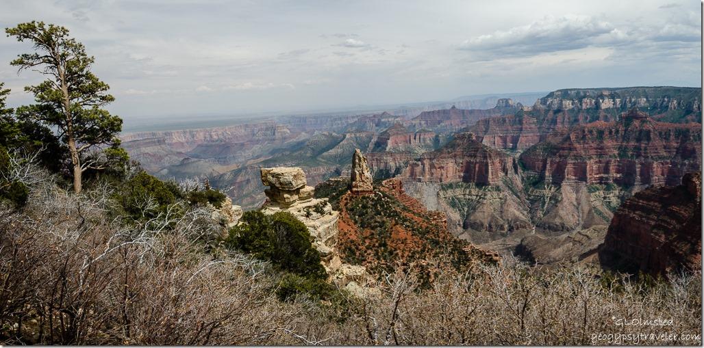 hazy Mount Hayden Point Imperial North Rim Grand Canyon National Park Arizona