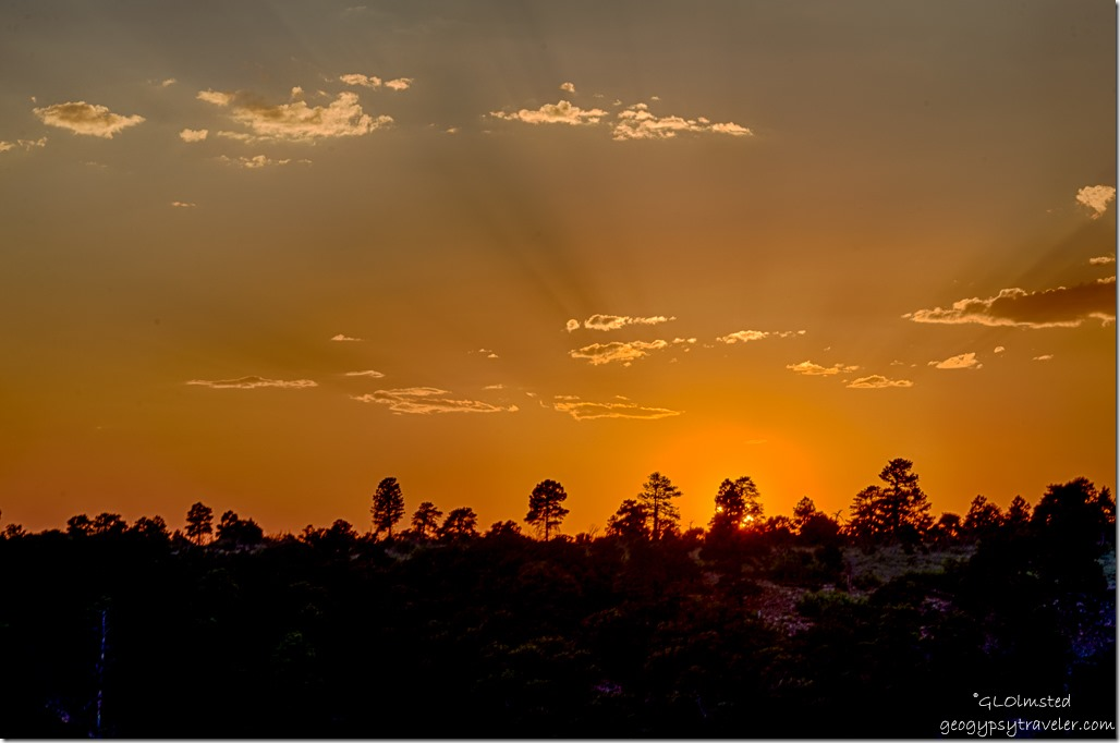 sunset crespuscular rays Wedding site Cape Royal North Rim Grand Canyon National Park Arizona