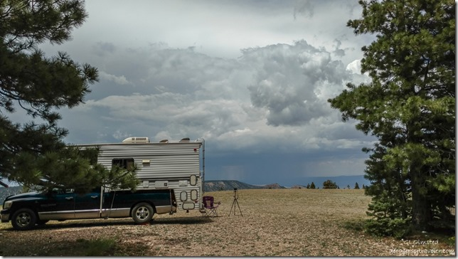 truckcamper camera tripod clouds stormy Marble View Kaibab National Forest Arizona