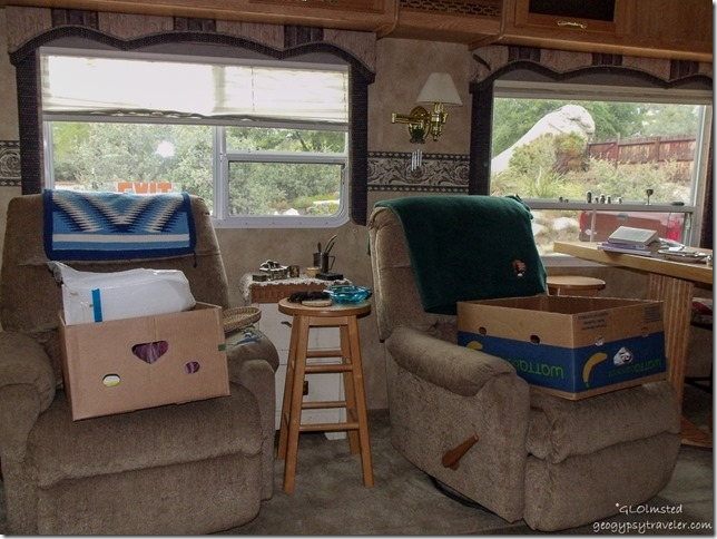 Unpacking boxes in RV Yarnell Arizona