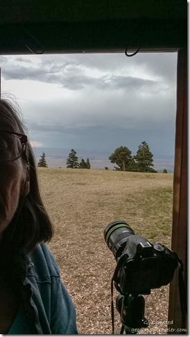 Gaelyn camera in camper stomy Marble View Kaibab National Forest Arizona