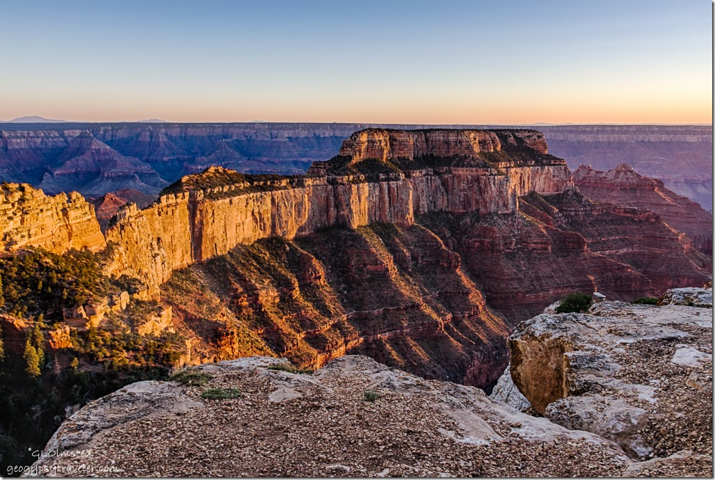 late light Wotans Throne Cape Royal North Rim Grand Canyon National Park Arizona