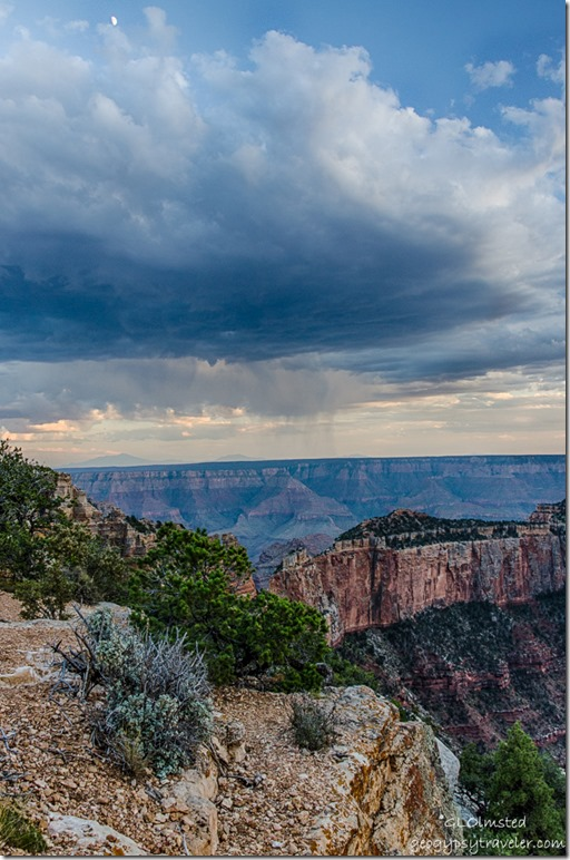 South Rim San Fransisco Peaks storm clouds sunset moon Cape Royal Wedding Site North Rim Grand Canyon National Park Arizona