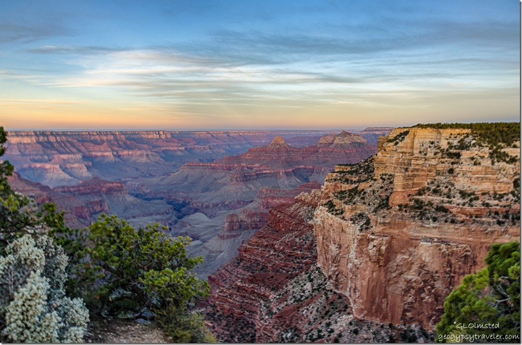 sunrise over canyon Cape Royal North Rim Grand Canyon National Park Arizona