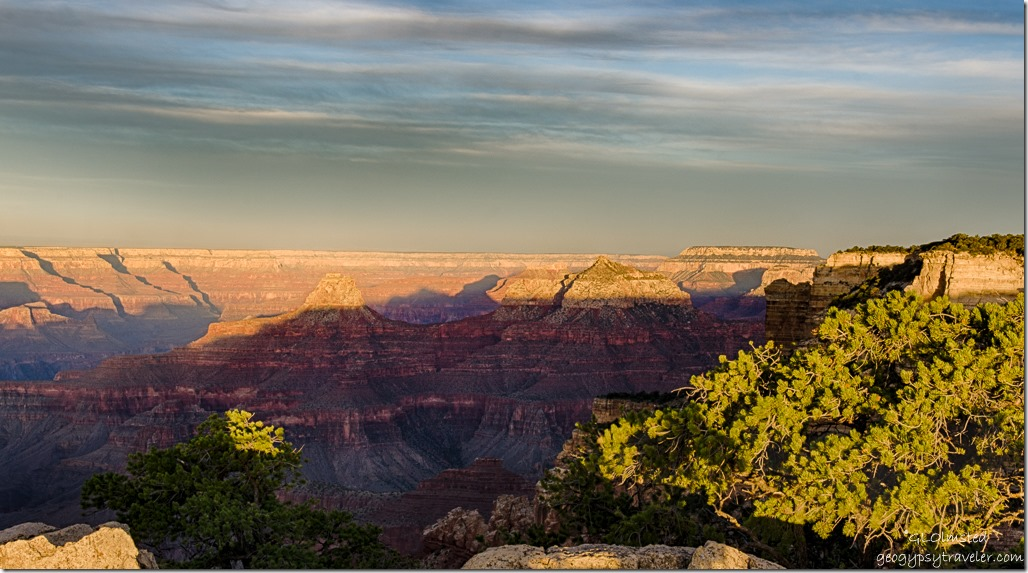 early light on temples & South Rim walls Cape Royal North Rim Grand Canyon National Park Arizona