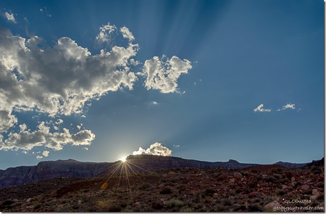 sunset rays Vermilion Cliffs from camp Lee's Ferry Glen Canyon National Recreation Area Arizona