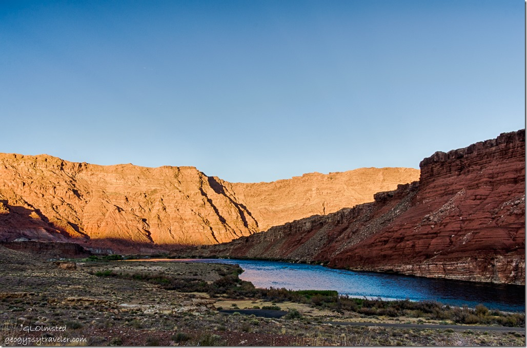 last light Echo Cliffs Colorado River from camp Lee's Ferry Glen Canyon National Recreation Area Arizona