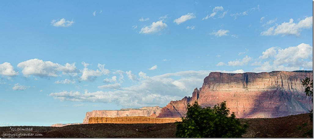 morning light Vermilion Cliffs from camp Lee's Ferry Glen Canyon National Recreation Area Arizona