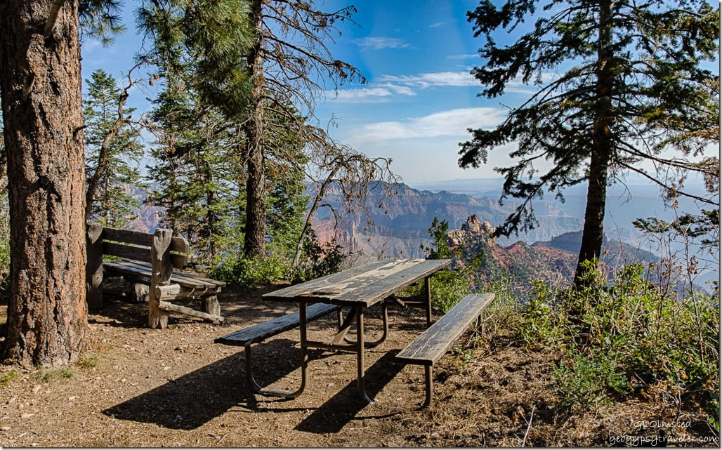 bench picnic table Brady Peak Vista Encantada Cape Royal Road North Rim Grand Canyon National Park Arizona