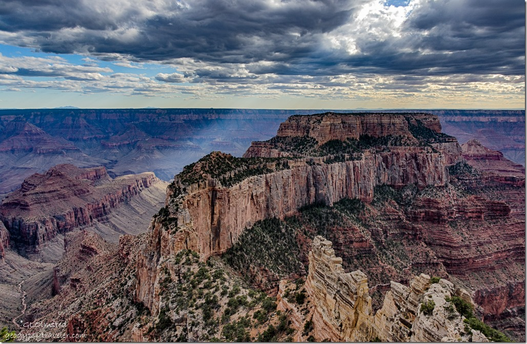 clouds sun rays Wotans Throne from Cape Royal North Rim Grand Canyon National Park Arizona