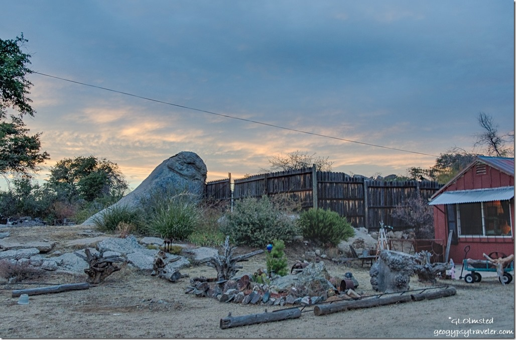 Berta's yard sunset Yarnell Arizona