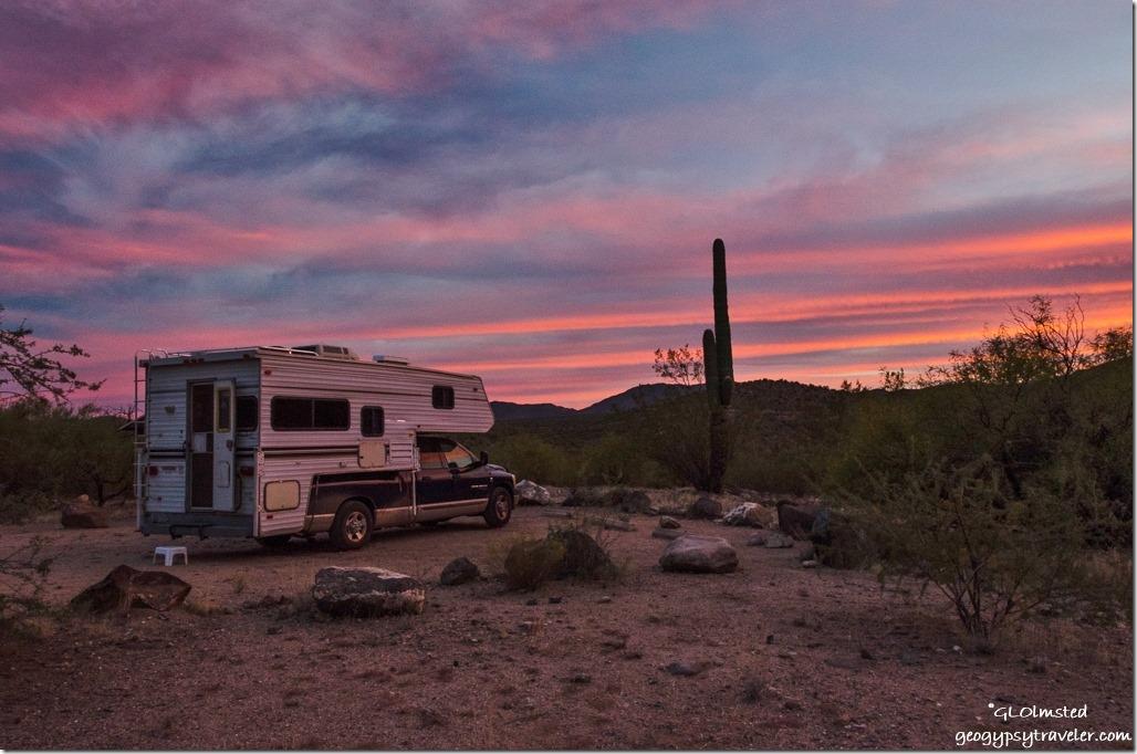 truck camper sunset Burro Creek campground US93 Arizona