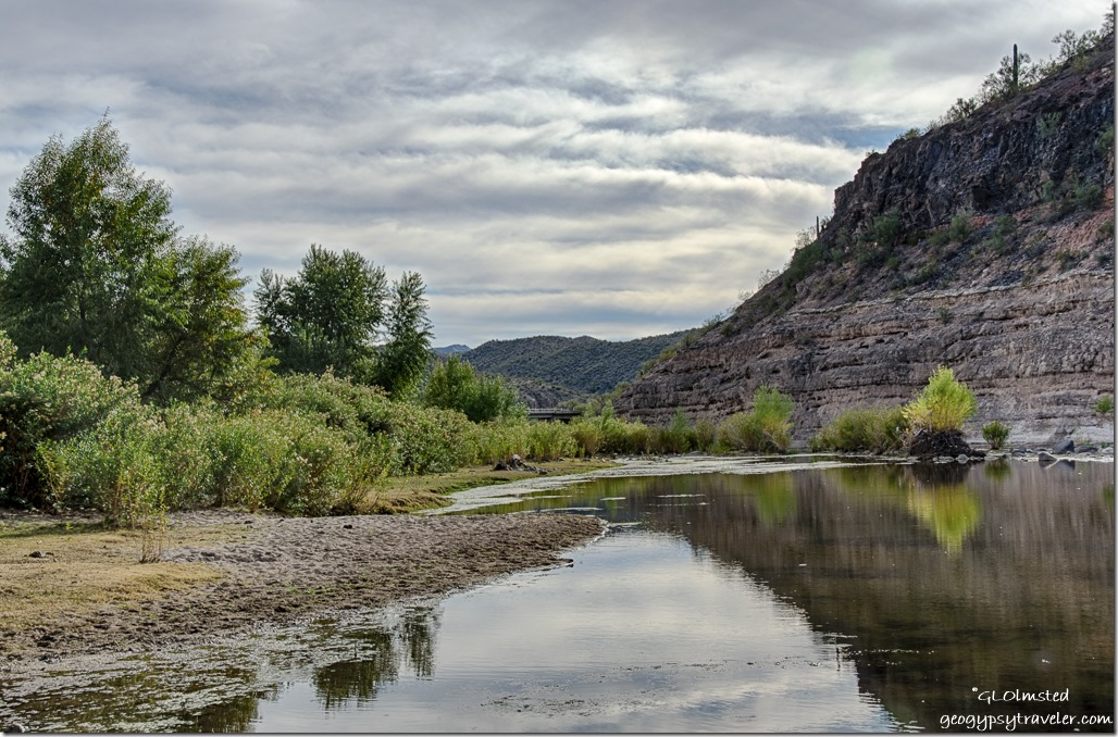 Burro Creek downstream low bridge clouds campground Arizona