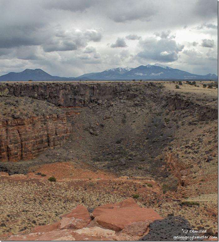 San Francisco Peaks from Citadel Pueblo Wupatki National Monument Arizona