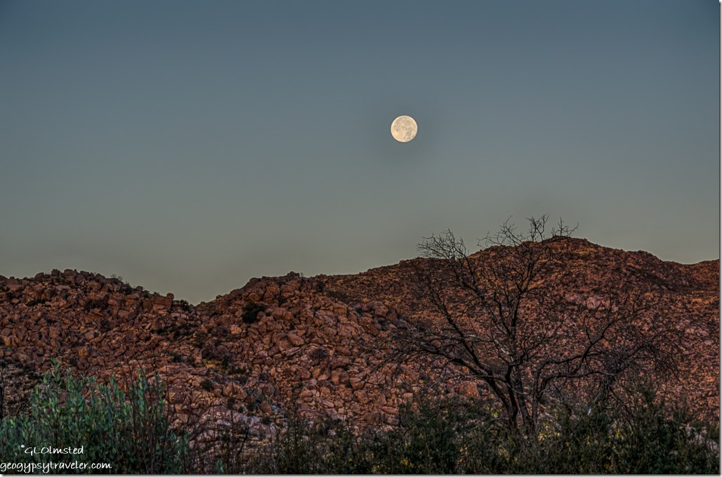 Weaver Mountains full moon set Yarnell Arizona