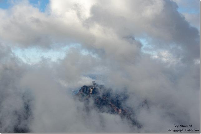 Brahma Temple through clouds North Rim Grand Canyon National Park Arizona