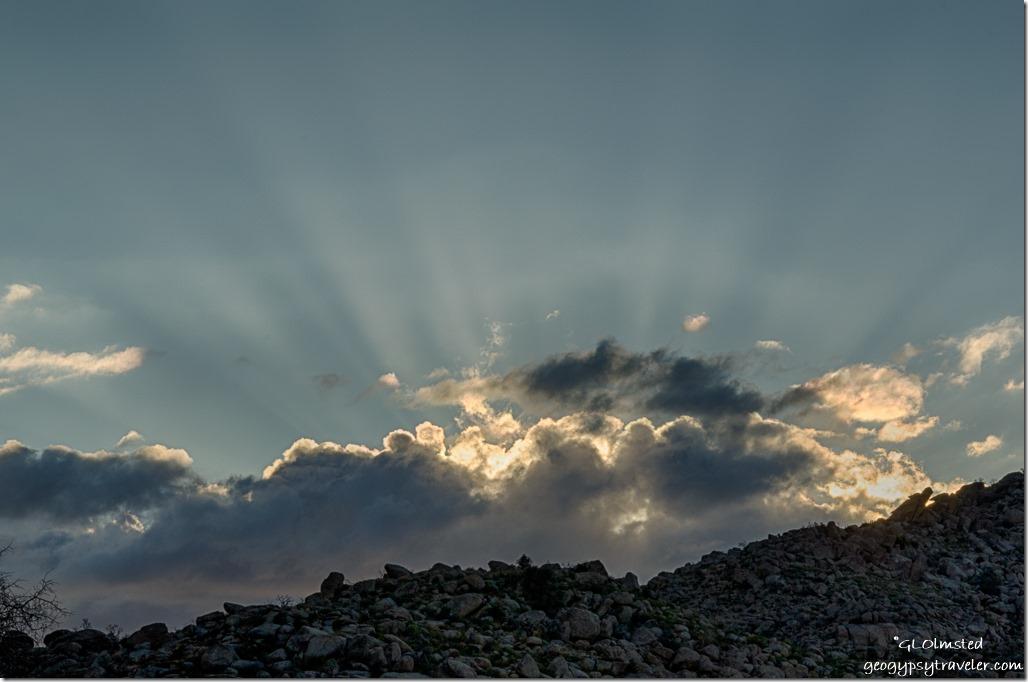Weaver Mountains clouds sunrays Yarnell Arizona
