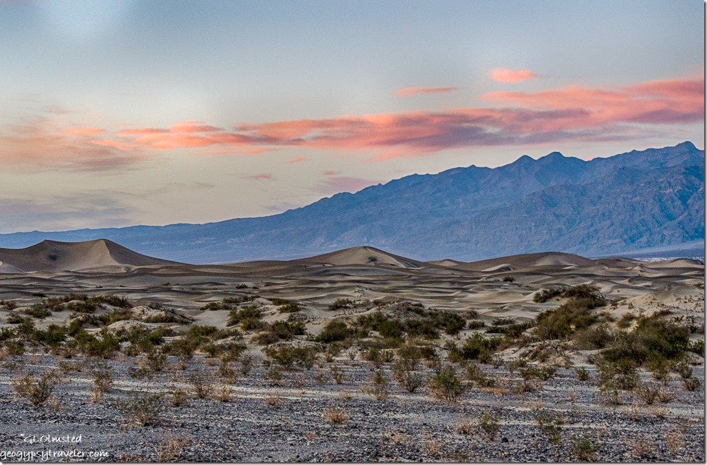 Mesquite dunes sunset mountains Death Valley National Park California
