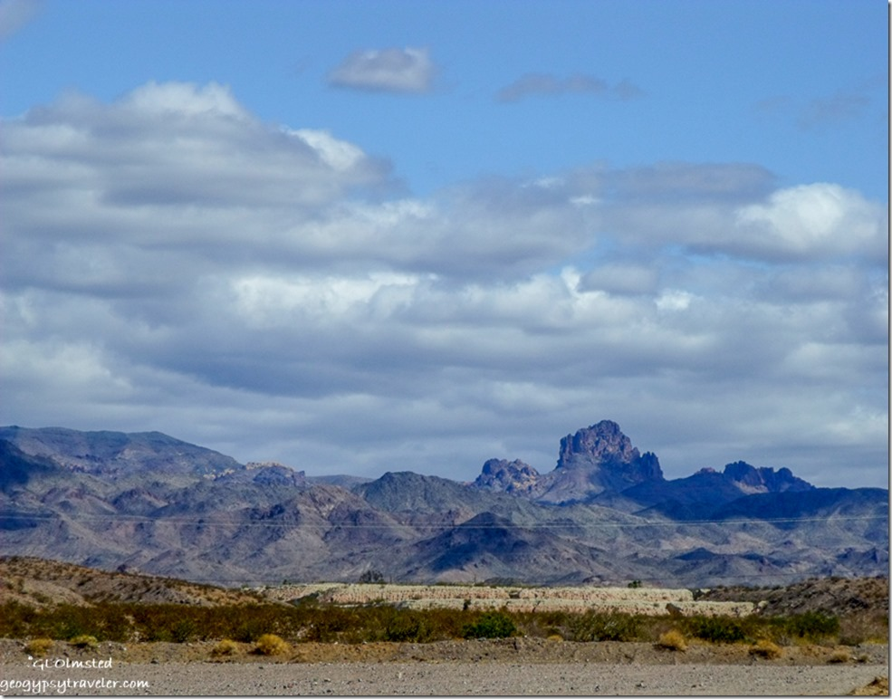 View West along Colorado R frontage road North of Bullhead City Arizona