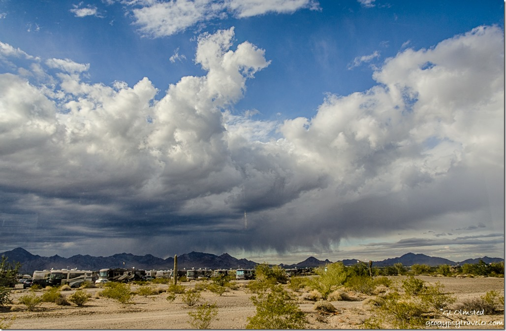RVs storm clouds LaPaz BLM Quartzsite Arizona
