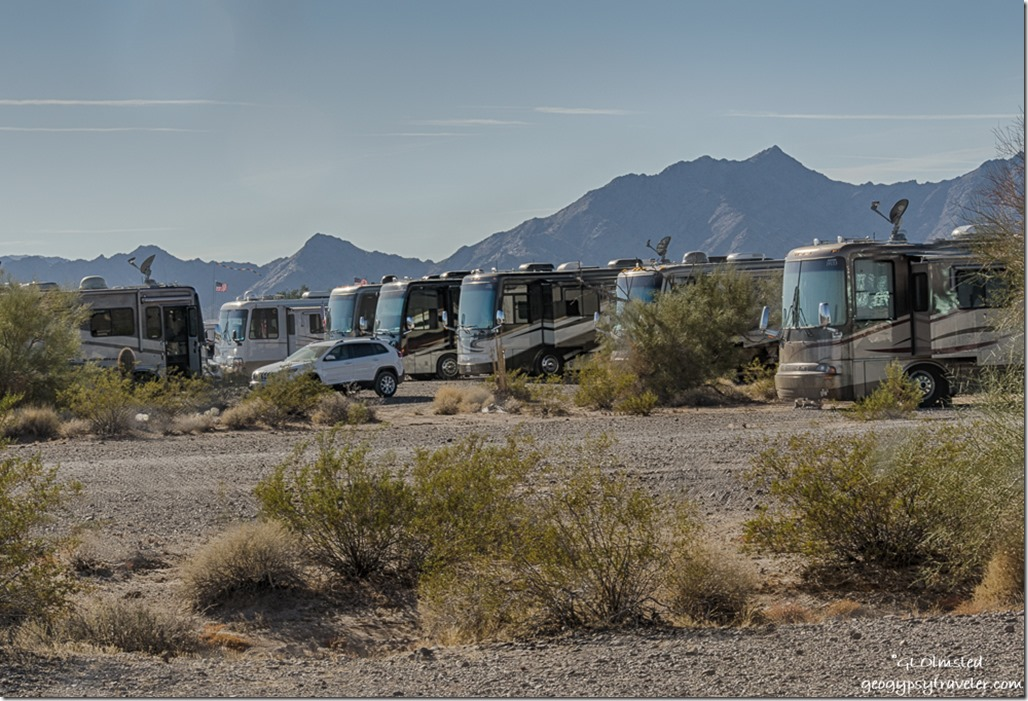 Newmar RVs Dome Rock Mts LaPaz BLM Quartzsite Arizona