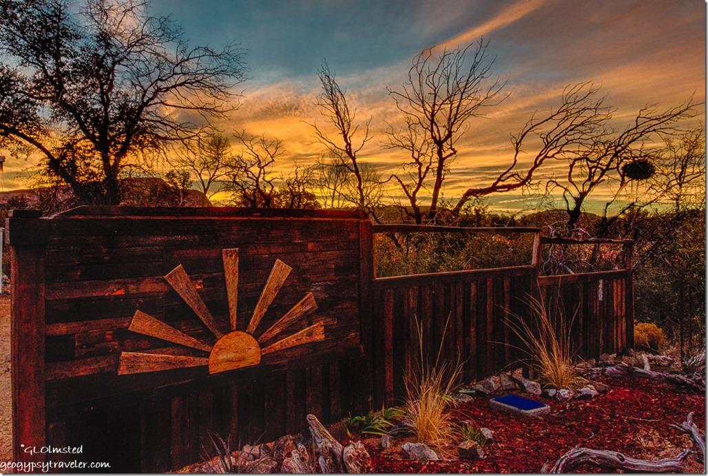 fence trees sunrise Yarnell Arizona