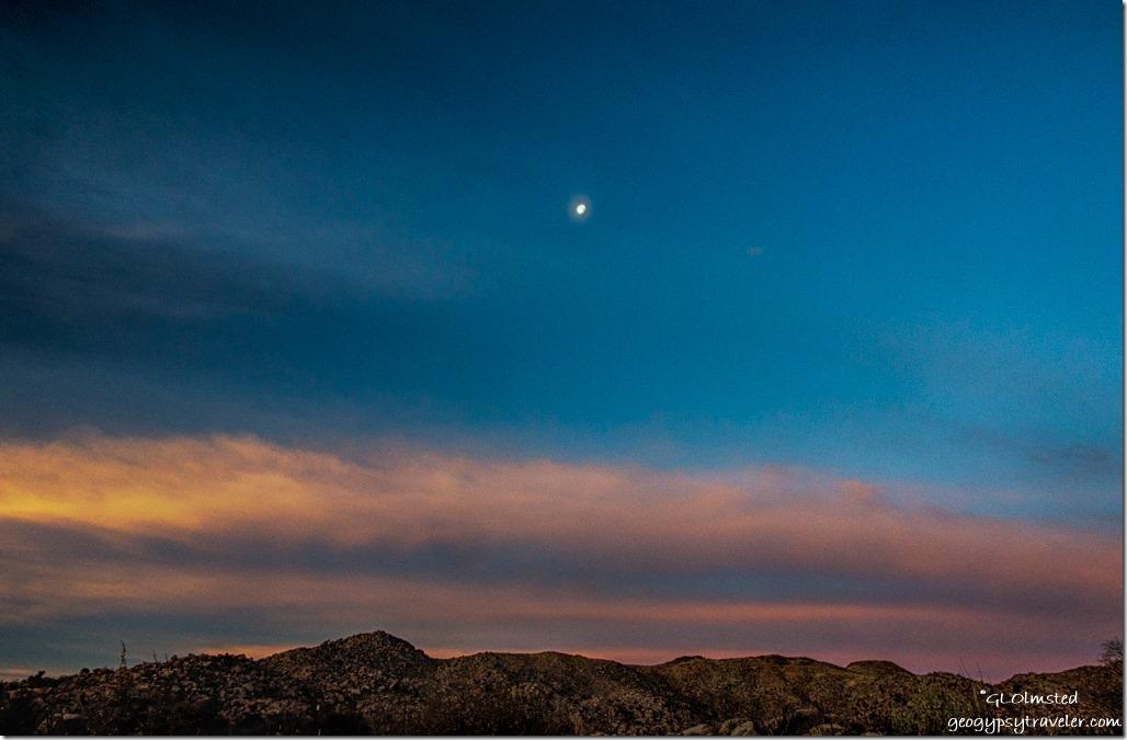 Weaver Mountains sunrise moon Yarnell Arizona