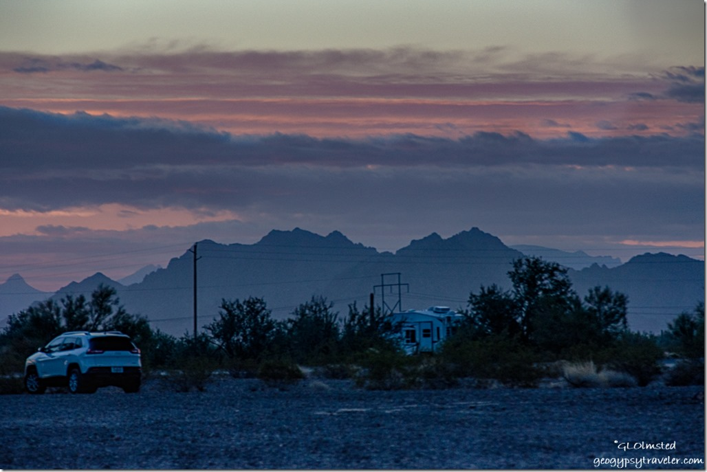 RV sunrise clouds LaPaz BLM Quartzsite Arizona