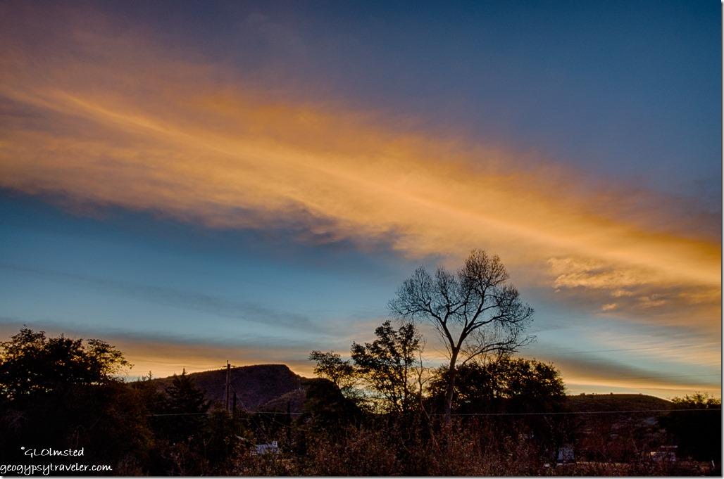 East trees Rich Hill sunrise Yarnell Arizona