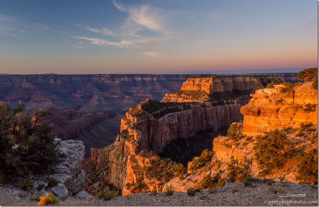 first light Wotans Throne Cape Royal North Rim Grand Canyon National Park Arizona