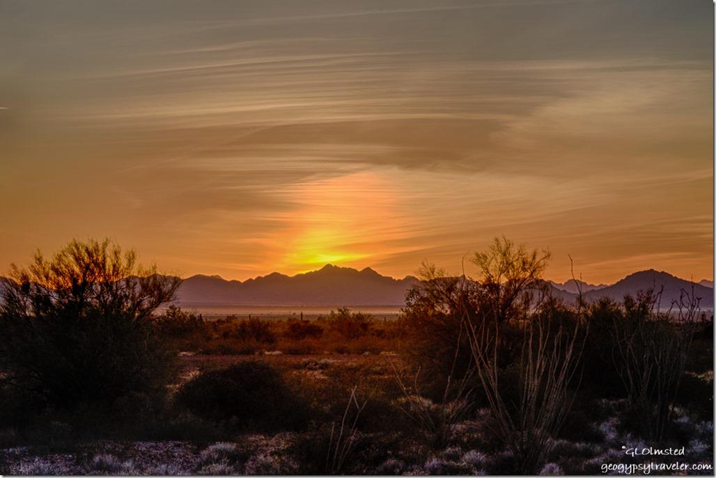 desert sunset Dome Rock Mountains Kofa NWR Arizona