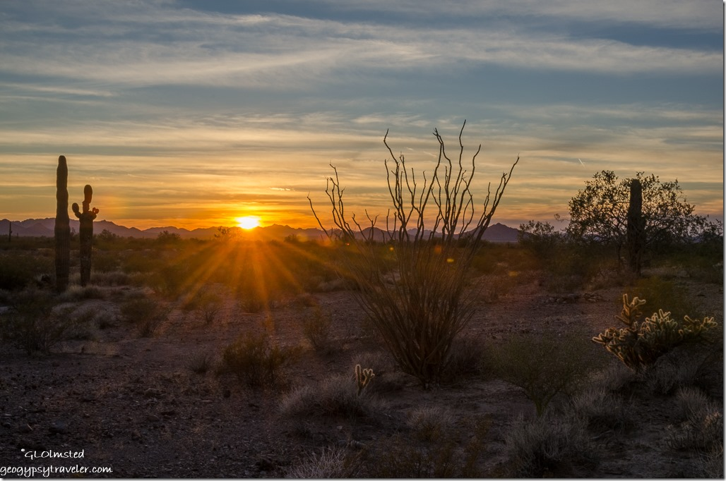 desert sunset sunrays Kofa National Wildlife Refuge Arizona