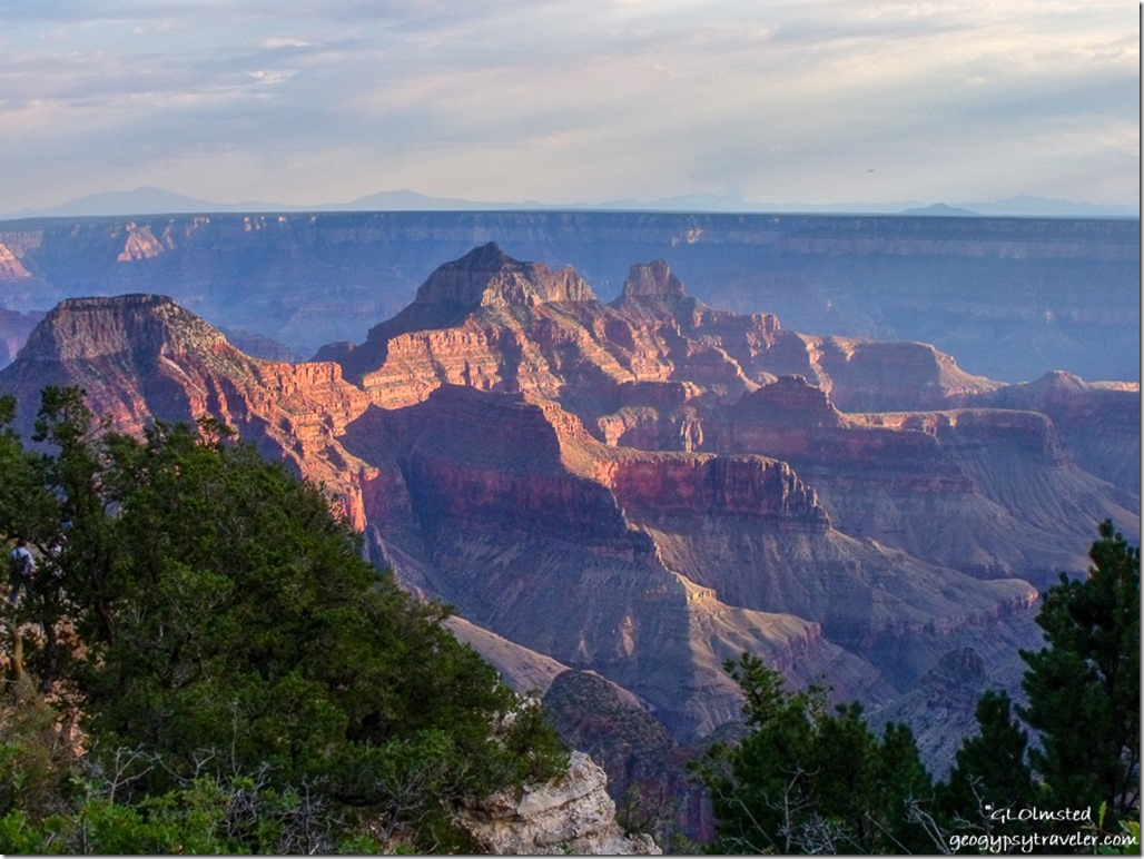 Evening light on the temples North Rim Grand Canyon National Park Arizona