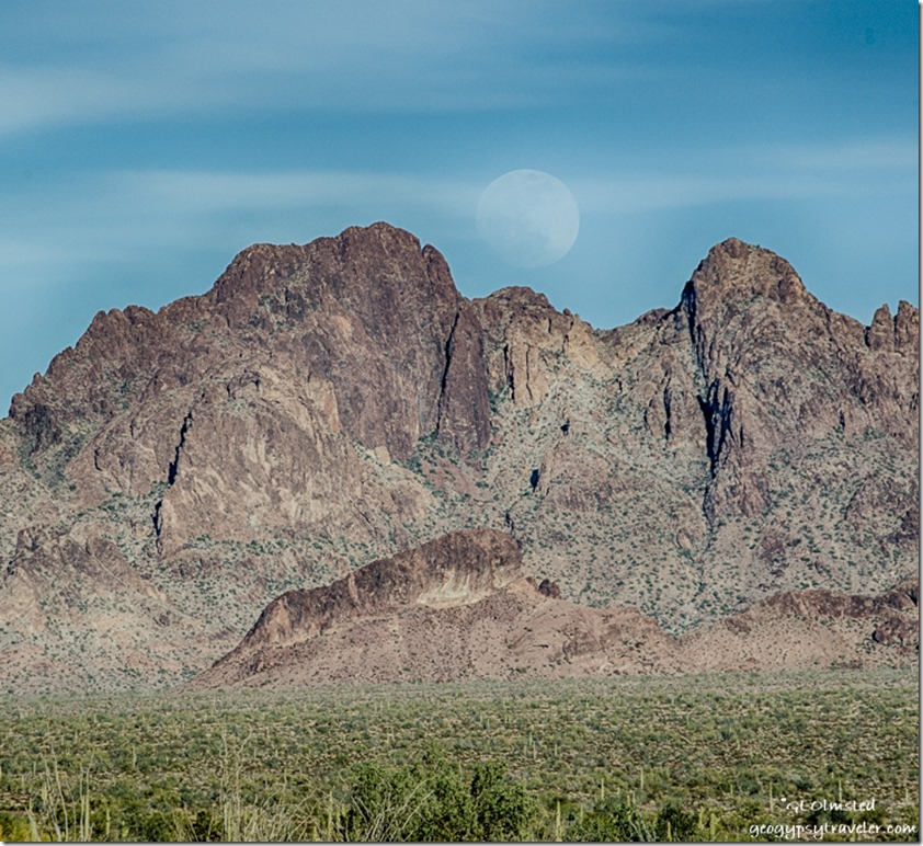 desert Kofa Mountains moon Kofa National Wildlife Refuge Arizona