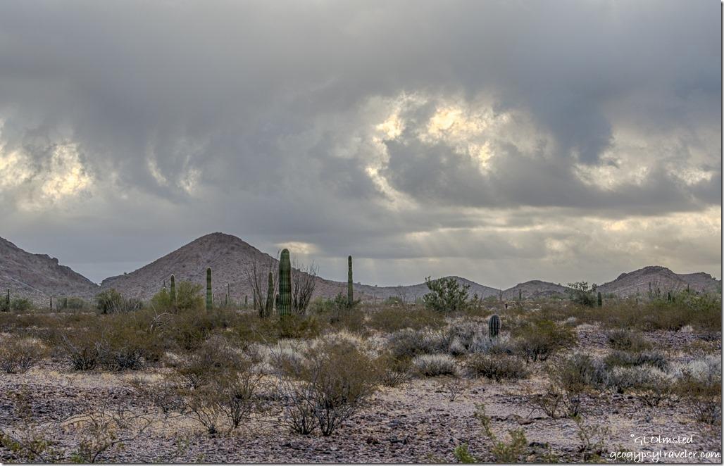 Sonoran Desert Kofa Mountains East view cloudy sunrise sunrays King Valley Kofa National Wildlife Refuge Arizona