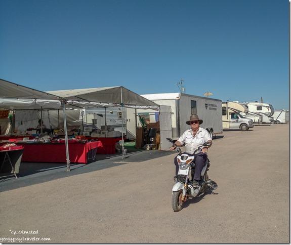 Tom riding electric scooter Quartzsite Arizona