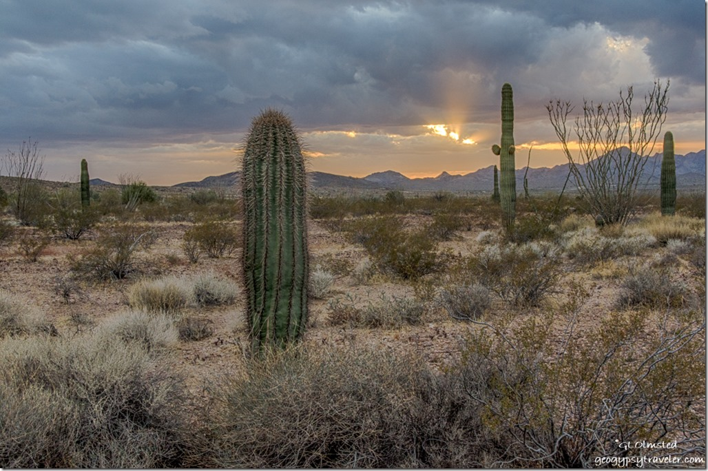 Sonoran Desert Chocolate Mountains storm clouds sunset sunrays King Valley Kofa National Wildlife Refuge Arizona