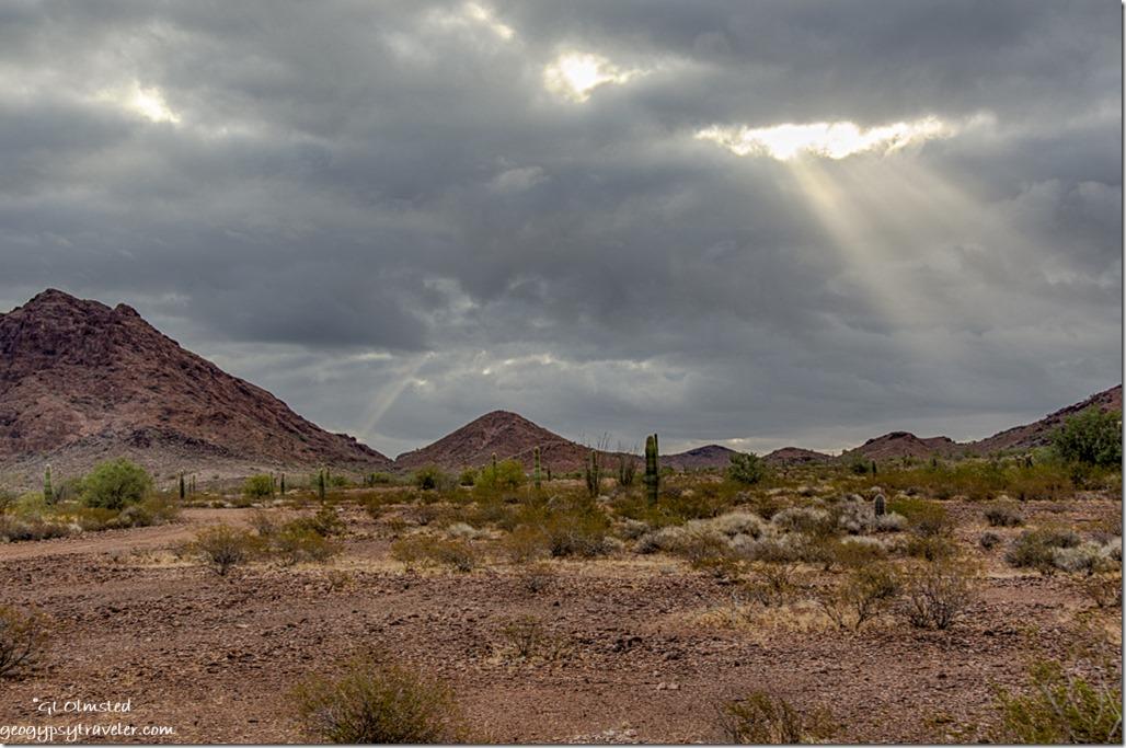 Sonoran Desert Kofa Mountains storm clouds sunrays King Valley Kofa National Wildlife Refuge Arizona