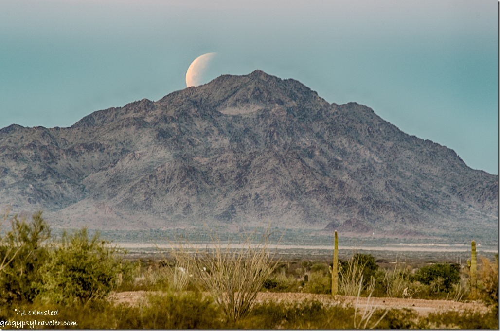 returning moon set Chocolate Mountains Kofa National Wildlife Refuge Arizona