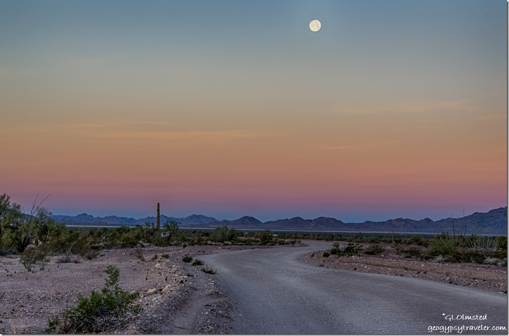 desert road almost full moon set Earth shadow Kofa National Wildlife Refuge Arizona